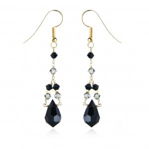 SWAROVSKI GOLD-FILLED JET  EARRINGS