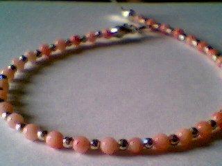 Genuine Pink Coral & Sterling Silver Bracelet