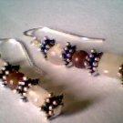 Genuine Rose Quartz, Purple Aventurine & Sterling Earrings