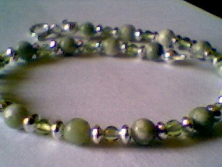 Genuine Peace Jade, Peridot and Sterling Silver Bracelet