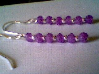 Genuine Lavender Jade and Sterling Silver Earrings
