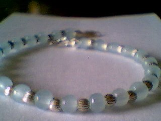 Genuine Amazonite and Sterling Silver Bracelet