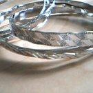 Silver Bangle Bracelets Set of 6