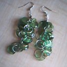 Green Circle Dangle Earrings