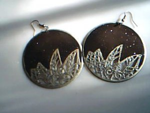 Brown with Golden Leaves Earrings