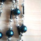 Teal Glass Pearl Fashion Necklace w/ Earrings