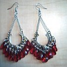 Antiqued Silver with Red Drops Earrings