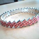 Pink and Silver Zig Zag Bangle Bracelet