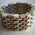 Two Tone Gold Brick Cuff Bracelet