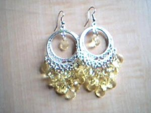 Yellow and Silver Chandelier Earrings
