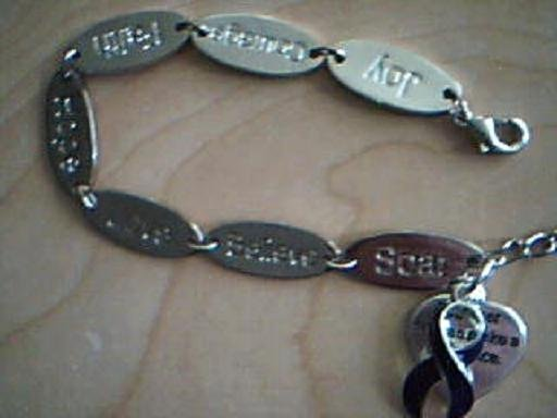 Inspirational Words Bracelet with Purple Ribbon Awareness Charm
