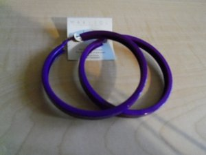 Big Purple Metal Hoop Earrings