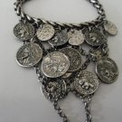 Silver Coin Covered Chain Ring Bracelet Combo