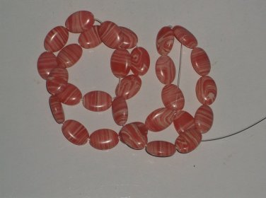 Pink and White Oval Beads