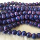 """Blue and Purple 8mm Glass Beads - 1 32"""" Strand"""