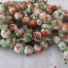 "Brown and Green Mottled Beads - 16"" strand"