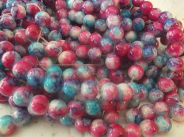 Dark Blue and Pink 8mm Glass Beads - 1 Strand