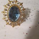 Light Blue and Gold Stretchy Statement Ring