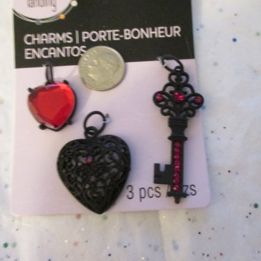 Heart and Key Charms Black and Red