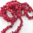 "Dyed Red Bamboo Coral  Chips - 34"" strand"