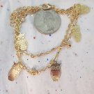 Owl Charm Gold Tone Bracelet / Anklet