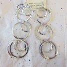 "Silver Tone Fashion Circle Earrings - 5"" Long"