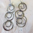 "Pewter Tone Fashion Circle Earrings - 5"" Long"