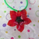 Red Glass Flower Car Charm