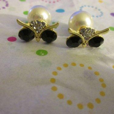 Owl Stud Earrings in Gold Tone