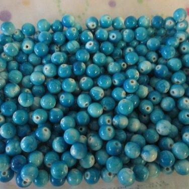 Blue Mottled Beads -8mm