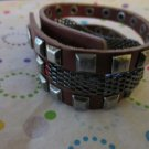 Red Leather with Gunmetal Grey Mesh Braclet