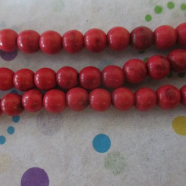 6mm Red Howlite Beads