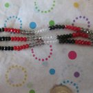 Black, Red and Silver 4mm Faceted Round Glass Beads