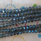5mm Blue Faceted Glass   Rondelles Beads - 1 Strand
