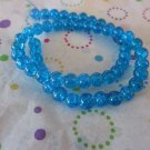 "Blue Glass Crackle Beads, 8mm - 1 16"" Strand"