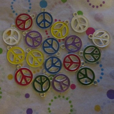 Colored Peace Sign Charms - Set of 18