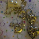 Many Hearts Gold Tone Long Necklace with Earrings