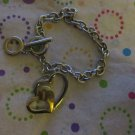 Silver and Gold Heart Bracelet - 7""