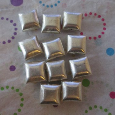 Puffed 10mm Metal Square Beads - Set of 10