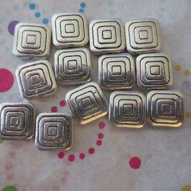 12mm Metal Square Beads