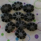 Black and Silver Acrylic Flower Beads