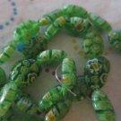 "Glass Millefiori Green Bead Oval - 15"" Strand"