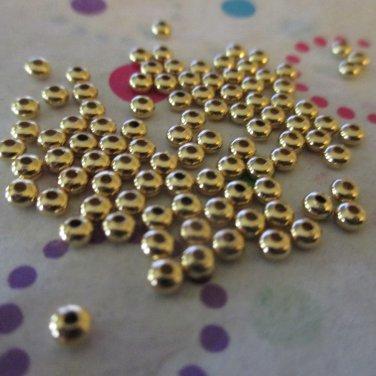 Gold Metal 3x2mm Rondelle Bead - Set of 100