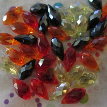 Fire Mix Faceted Teardrop Beads - Set of 40