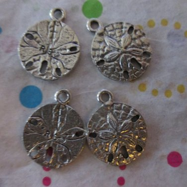Silver Sand Dollar Charms - Set of 4