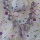 Purple Drop Necklace and Earrings Set