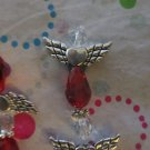 4 Red and Silver Angels, 25x22mm
