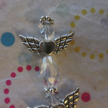 4 Clear and Silver Angels, 25x22mm