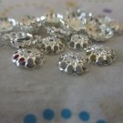 Silver Tone Beads Caps - Set of 50