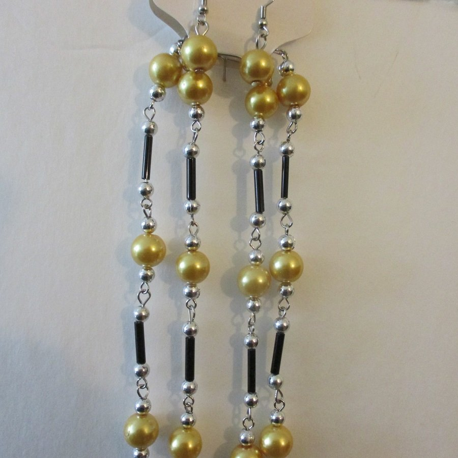 Gold Glass Pearl Fashion Necklace w/ Earrings